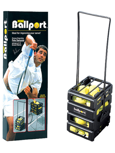 Tourna Peter Sampras Ballport Tennis Ball Pick Up Basket 36 Balls Hopper