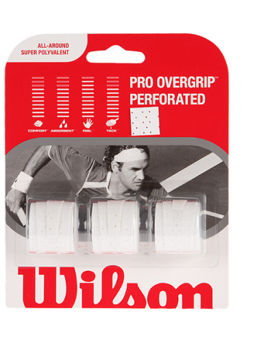 Wilson Pro Perforated Overgrip White 3 Pack
