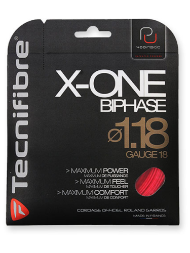 Tecnifibre X-One Biphase 1.18 Tennis String Red 12.2m Set