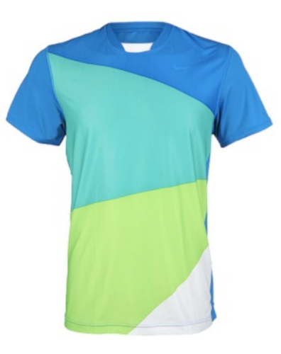 Nike Rafael Nadal 2010 French Open Vamos RAFA Tennis Crew Shirt Blue Green