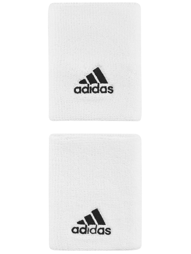 Adidas  Large Double Width Logo Tennis Wristbands White