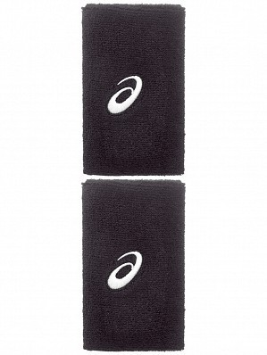 Asics ATP Master Tour Pro Player Double Wide Logo Tennis Wristbands, Black