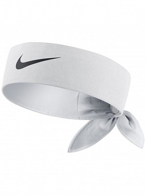 Nike Roger Federer Australian US Open Dri-Fit Tie Up Tennis Headband Bandana, White / Black