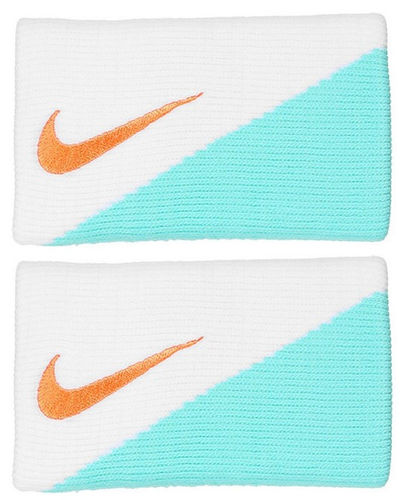 Nike Rafael Nadal 2015 ATP Master Roma Madrid Dri Fit 2.0 Double Wide Tennis Wristband, White / Aqua
