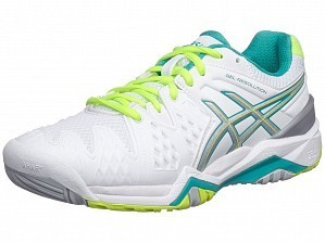 Asics Pro Player 2015 WTA Tour Women's Gel-Resolution 6 Tennis Shoes, White / Green