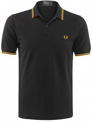 Fred Perry Pro Player Men's Authentic Slim Fit Tennis Polo Shirt, Black / Yellow