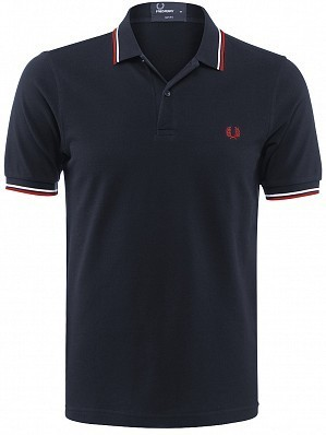 Fred Perry Pro Player Men's Authentic Slim Fit Tennis Polo Shirt, Navy / Red