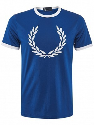 Fred Perry Pro Player Men's Laurel Wreath Ringer Tennis Training Crew Shirt, Blue