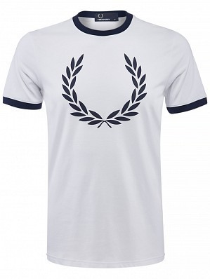 Fred Perry Pro Player Men's Laurel Wreath Ringer Tennis Training Crew Shirt, White