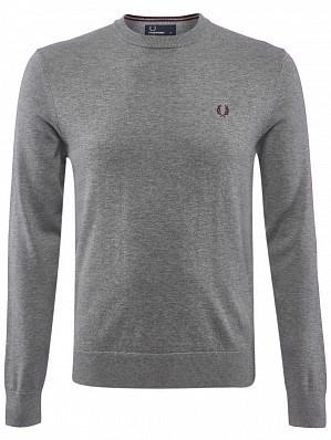 Fred Perry Pro Player Men's  Classic Crew Neck Tennis Sweater Shirt, Grey