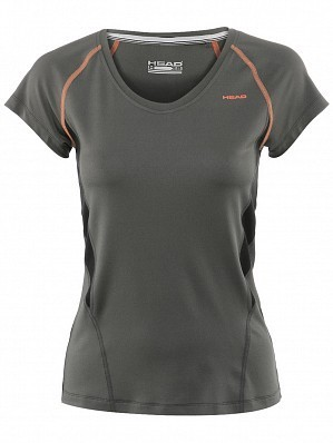 Head WTA Tour Pro Women's Performance V-Neck Tennis Top Shirt, Grey