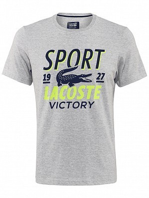 Lacoste ATP Pro Player Printed Men's Tennis Tee Shirt, Grey