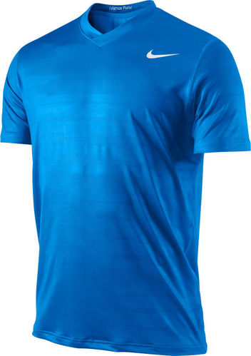 Nike Rafael Nadal 2011 French Open Champion Vamos RAFA Ace Jaquard Tennis Crew Shirt, Blue