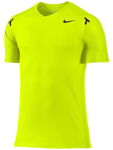 Nike Rafael Nadal 2012 US Open RAFA Power Court Tennis Crew Shirt, Lime Green