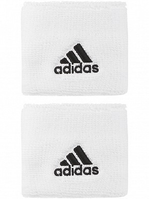 Adidas WTA Pro Player Small Single Wide Logo Tennis Wristbands White / Black
