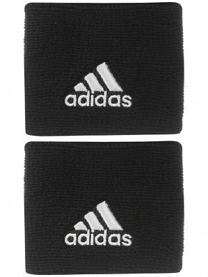 Adidas WTA Pro Player Small Single Wide Logo Tennis Wristbands Black / White