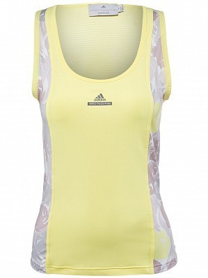 Adidas Stella McCartney Caroline Wozniacki 2016 French Open Roland Garros Tennis Tank Shirt, Yellow