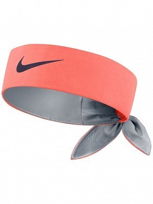 Nike Roger Federer Rafael Nadal Dri-Fit Tie Up Headband Bandana, Mango Orange / Black
