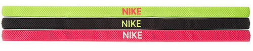 Nike Pro Player Tour Women's Elastic Swoosh Sport Tennis Headbands 3-Pack, Yellow & Black & Pink