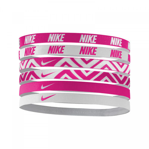 Nike Pro Player Tour Women's Swoosh Printed Tennis Headbands 6-Pack, Pink & White