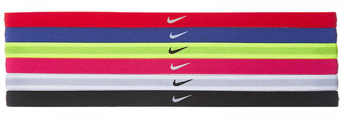 Nike Women's Swoosh Sport Tennis Headbands 6-Pack, Blue & Black & Pink & Red & Green & White