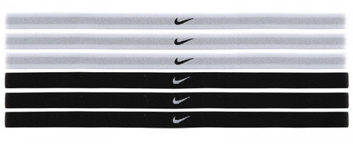 Nike Women's Swoosh Sport Tennis Headbands 6-Pack, Black & White