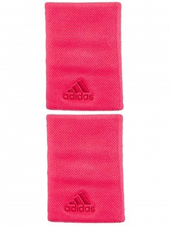 Adidas Pro Player Large Double Wide Graphic Logo Tennis Wristbands Red