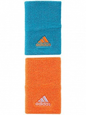 Adidas Pro Player Large Double Width Logo Tennis Wristbands Orange & Blue