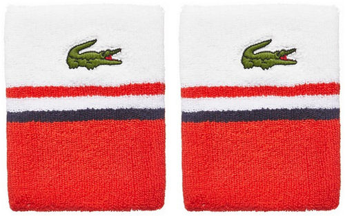 Lacoste Pro Player Tennis Wristbands, White / Red