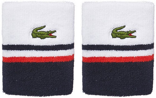Lacoste Pro Player Tennis Wristbands, White / Navy