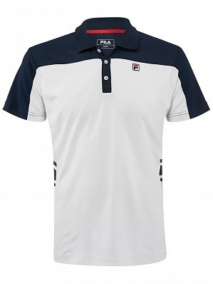 Fila ATP Master Tour Pro Player Men's Pascal Tennis Polo Shirt, White / Navy