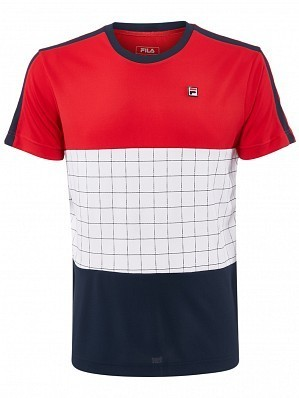 Fila ATP Master Tour Pro Player Men's Sacha Tennis Crew Tee Shirt, Red