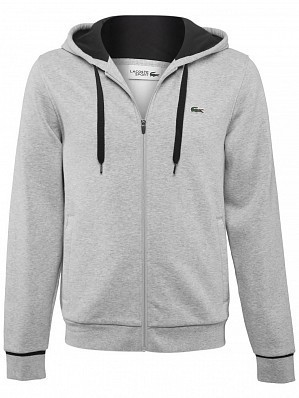 Lacoste ATP Pro Player Logo Men's Hooded Full Zipped Tennis Sweat Jacket, Grey