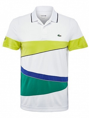 Lacoste ATP Pro Player Men's Tricolor Tennis Polo Shirt, White Green