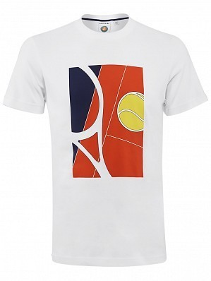 Lacoste ATP Pro Player Men's Roland Garros French Open Racket Tennis Tee Shirt, White