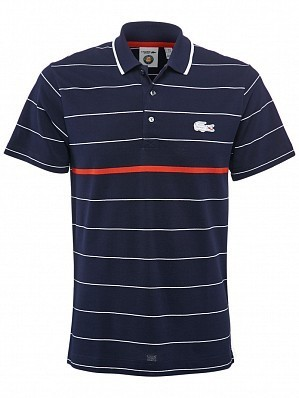 Lacoste ATP Pro Player Men's Roland Garros French Open Stripe Tennis Polo Shirt, Navy