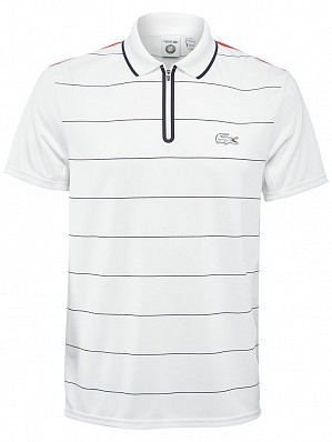 Lacoste ATP Pro Player Men's Roland Garros French Open Performance Tennis Polo Shirt, White