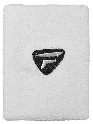 Tecnifibre ATP Tour Pro Player Large Double Wide Logo Tennis Wristbands, White