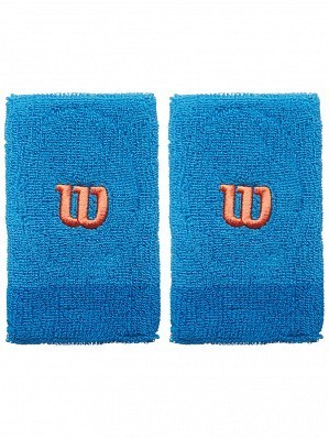 Wilson Pro ATP Player Double Wide Long Tennis Wristbands Blue