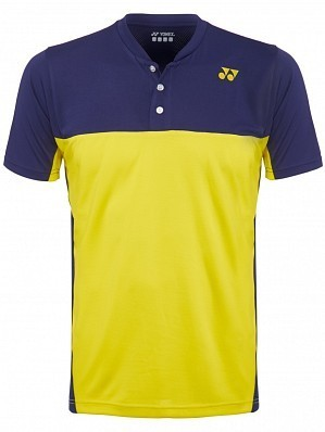 Yonex Stanislas Wawrinka Men's US Open Tennis Henley Polo Shirt, Purple / Yellow