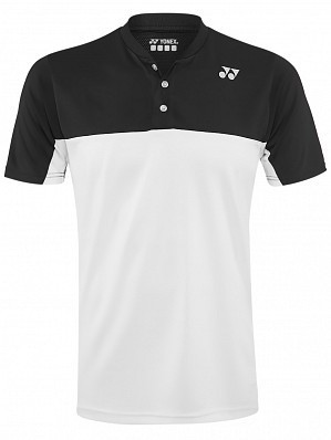 Yonex Stanislas Wawrinka Men's US Open Tennis Henley Polo Shirt, Black / White