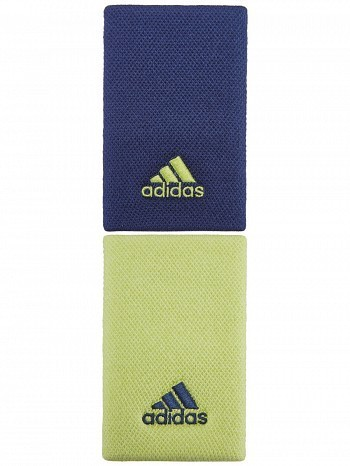 Adidas Pro Player Large Double Width Logo Tennis Wristbands Navy & Yellow