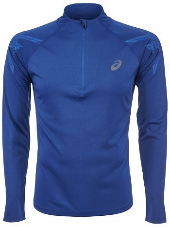 Asics ATP Master Tour Pro Player Men's Stripe 1/2 Zip Long Sleeve Tennis Shirt, Blue