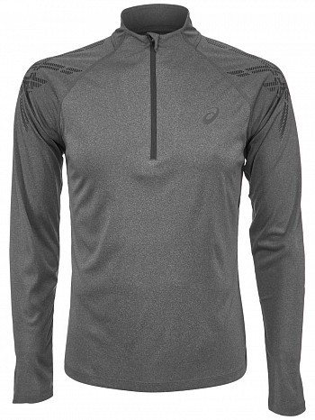 Asics ATP Master Tour Pro Player Men's Stripe 1/2 Zip Long Sleeve Tennis Shirt, Grey