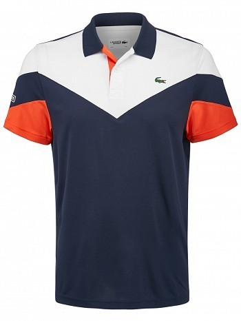 Lacoste ATP Master Tour Pro Player Men's V Colorblock Tennis Polo Shirt, Navy