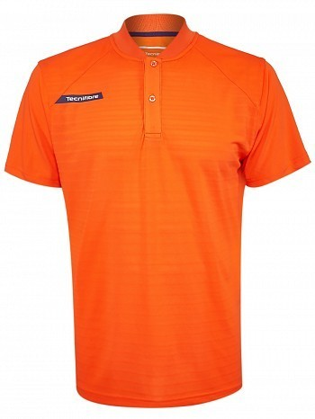 Tecnifibre ATP Pro Player Logo Men's F3 Ventstripe Tennis Henley Polo Shirt, Orange