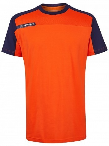 Tecnifibre ATP Pro Player Logo Men's F1 Stretch & Mesh Tennis Crew Shirt, Orange