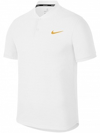 Nike ATP Pro Player Wimbledon Open Men's Court Solid Dry Advantage Tennis Henley Polo Shirt White