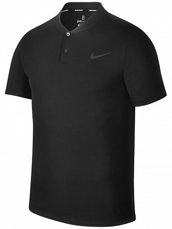 Nike ATP Pro Player Master Tour Men's Court Solid Dry Advantage Tennis Henley Polo Shirt Black