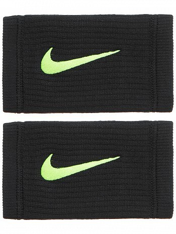 Nike ATP Master Pro Player Dri-Fit Reveal Swoosh Doublewide Tennis Wristbands, Black / Volt Green